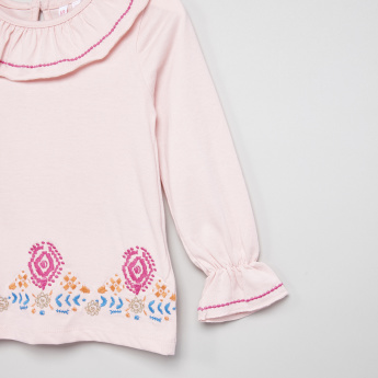 Juniors Embroidered Frill Yoke Top