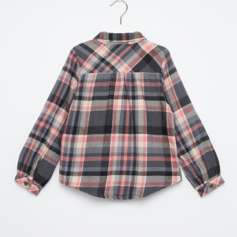 Juniors Chequered Ruffle Detail Long Sleeves Shirt