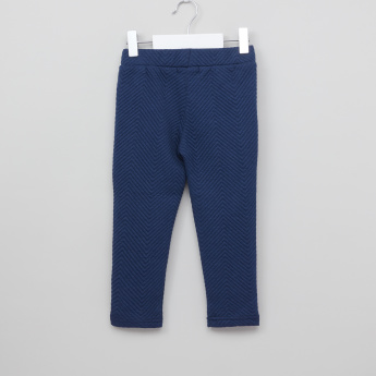 Juniors Textured Jeggings with Elasticised Waistband