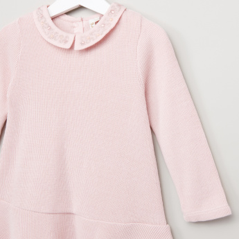 Juniors Rib Knit Baby Collar Dress