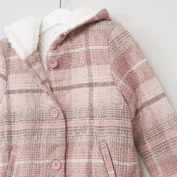 Juniors Tweed Coat with Fur Lining