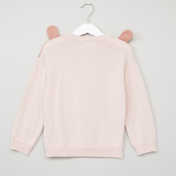 Juniors Embroidered Round Neck Long Sleeves Sweater