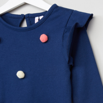 Juniors Frill and Pom-Pom Detail Pullover