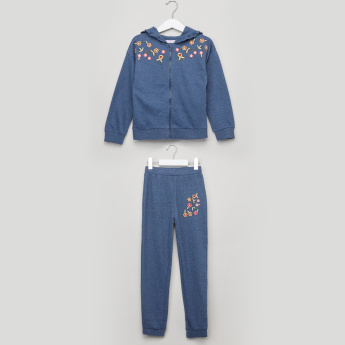 Juniors Embroidered Jacket with Full Length Jog Pants