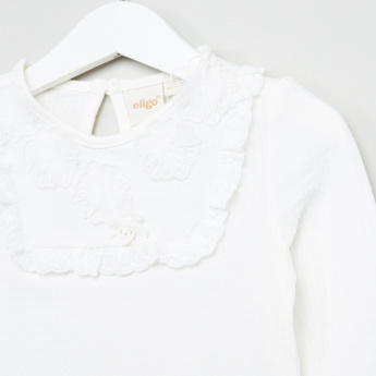 Eligo Long Sleeves Lace Detail Top