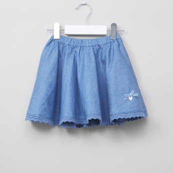Eligo Lace Detail Denim Skirt
