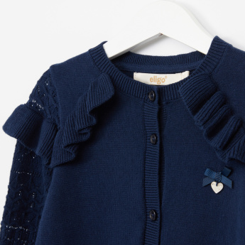 Eligo Embroidered Cardigan with Long Sleeves and Ruffle Detail