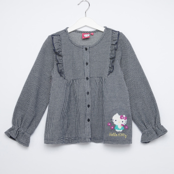 Hello Kitty Embroidered Round Neck Long Sleeves Top