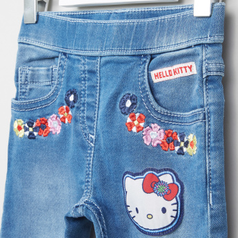 Hello Kitty Embroidered Denim Pants with Elasticised Waistband
