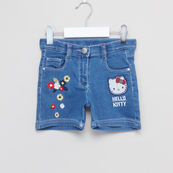 Hello Kitty Embroidered Denim Shorts