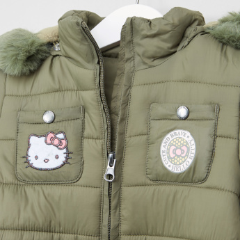 Hello Kitty Long Padded Jacket with Tie Up Belt
