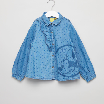 Minnie Mouse Printed Long Sleeves Denim Shirt