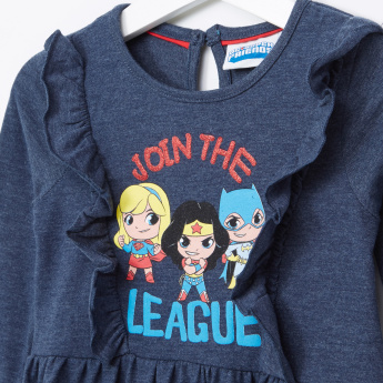 DC Super Friends Printed Ruffle Detail Long Sleeves Round Neck Dress