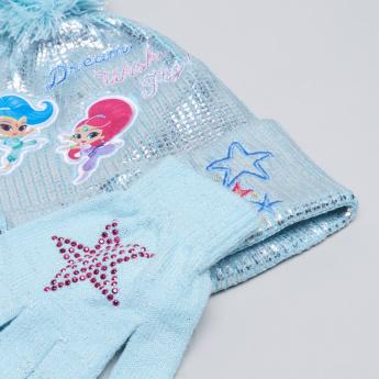 Shimmer and Shine Printed Beanie Cap with Gloves
