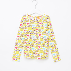 Minions Printed Round Neck Long Sleeves Top