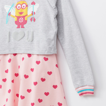 Minions Printed Round Neck Long Sleeves Dress