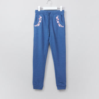 Juniors Printed Jog Pants with Elasticised Waistband and Drawstring
