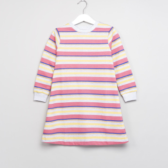 Juniors Striped Long Sleeves Dress