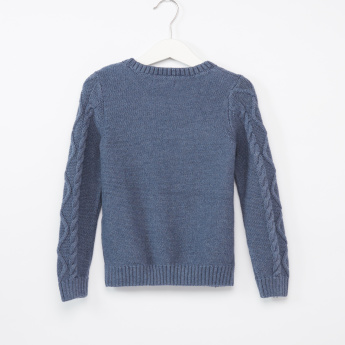 Juniors Cable Crew Neck Sweater