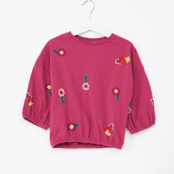 Juniors Embroidered Round Neck Long Sleeves Top