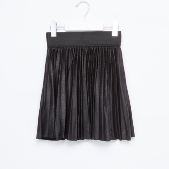 Juniors Textured Pleated Skirt with Elasticised Waistband
