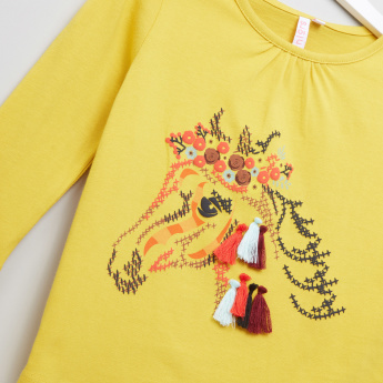 Juniors Stitch Embroidery Long Sleeves Sweat Top