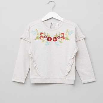Juniors Oatmeal Neck Frill Sweat Top with Embroidery
