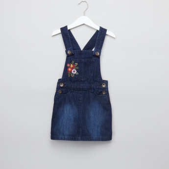 Juniors Embroidered Denim Pinafore