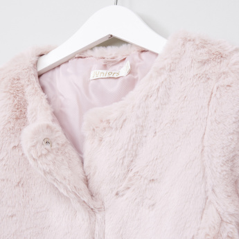 Juniors Signature Long Line Fur Coat