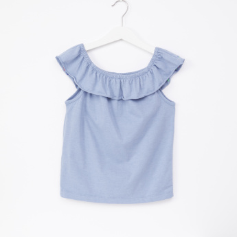 Juniors Embroidered Sleeveless Ruffle Detail Top