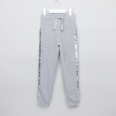 Juniors Full Length Jog Pants with Sequin and Pocket Detail