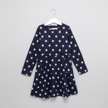 Juniors Polka Knit Skater Dress