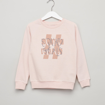 Juniors Sequin Detail Round Neck Sweatshirt