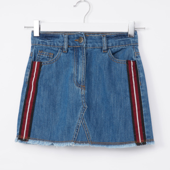 Posh Denim Skirt with Pocket and Tape Detail