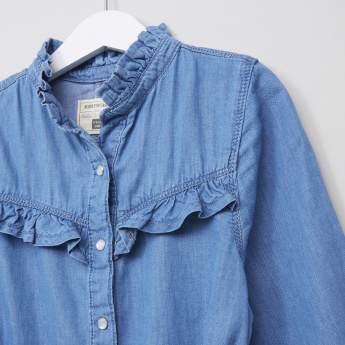 Posh Ruffle Detail Denim Dress