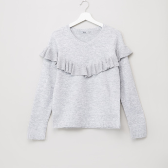 Posh Knitted Jumper with Ruffle Detail