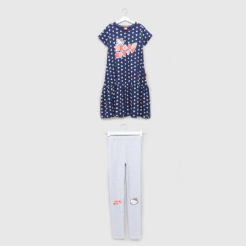 25ca57870657e Hello Kitty Printed Dress with Full Length Leggings | Blue | Casual