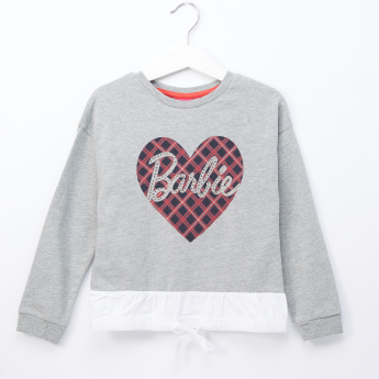 Barbie Printed Pullover with Round Neck and Long Sleeves