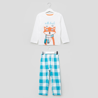 Juniors Winter Fox Printed Long Sleeves T-Shirt and Pyjama Set