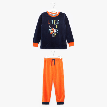 Juniors Embroidered Long Sleeves T-Shirt with Jog Pants