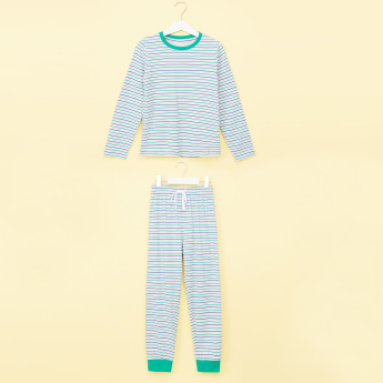 Juniors Striped Long Sleeves T-Shirt with Jog Pants