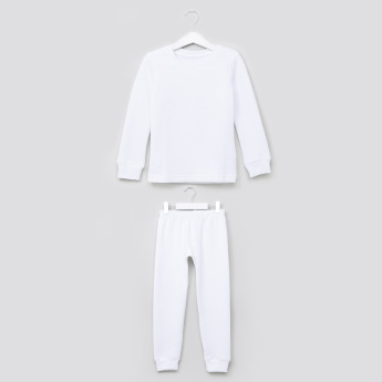 Juniors Thermal Round Neck T-Shirt with Jog Pants