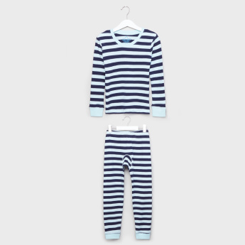 Juniors Striped Long Sleeves Thermal T-Shirt with Jog Pants