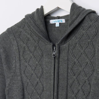 Juniors Knitwear with Zipper and Hoodie