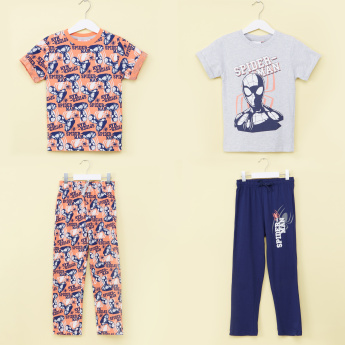 Spiderman Printed T-Shirt and Pyjama - Set of 2