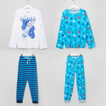 Juniors Printed T-Shirt with Full Length Jog Pants - Set of 2