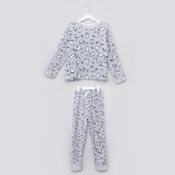 Juniors Fleece Pyjama Set with Cat Print