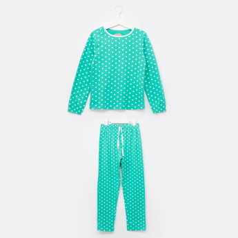 Juniors Polka Dot Printed Long Sleeves T-Shirt and Pyjama Set