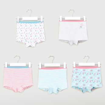 Juniors Printed Boxers with Elasticised Waistband - Set of 5