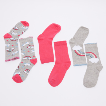 Juniors Assorted Crew Length Socks - Set of 3